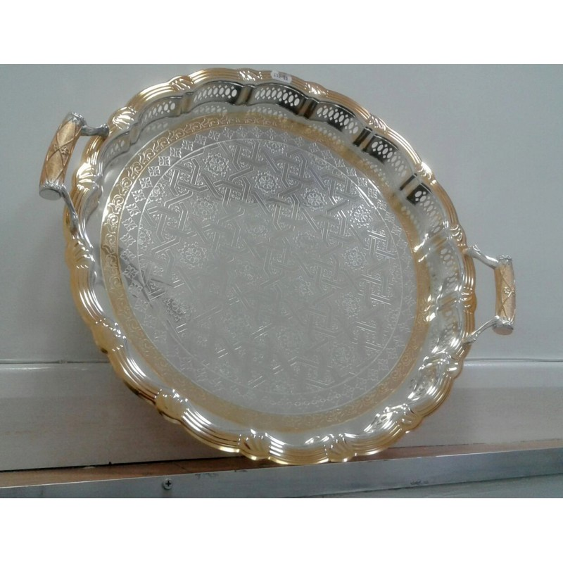 Stylish Round-shaped Silver and Gold Plated Serving Tray with handles