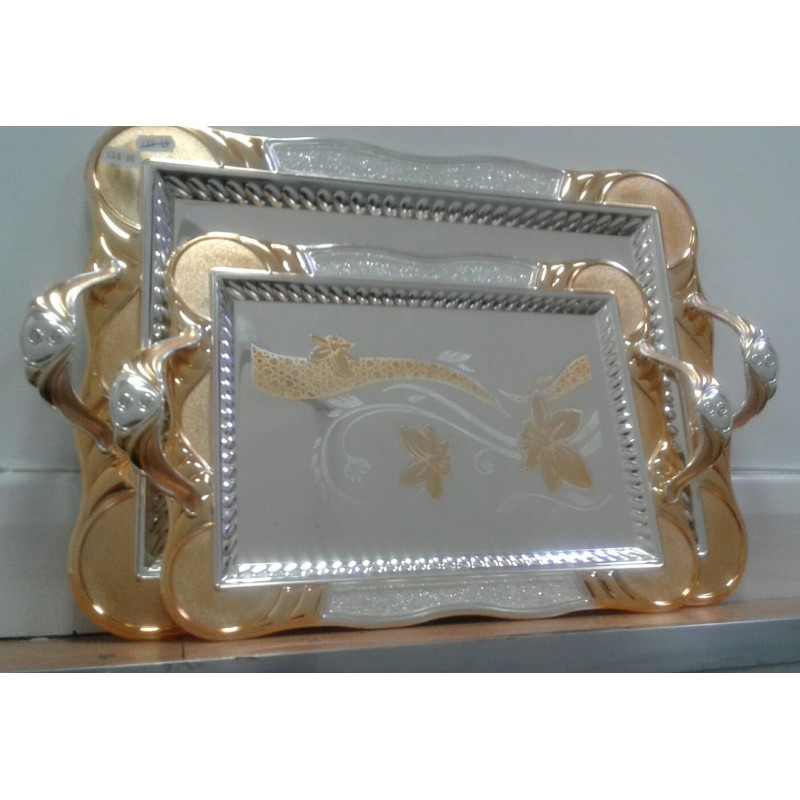 Stylish Silver and Gold Plated Palace Serving Tray with Moving Crystals