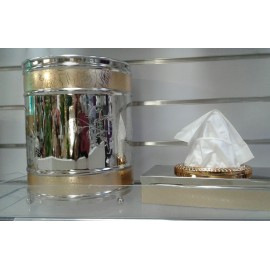 Nickel-plated Tissue Box Holder with matching Waste Paper Bin