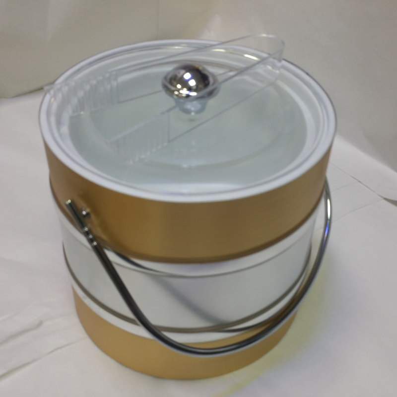 3-Quart American-styled two tone Ice Bucket Gold  Silver Gold