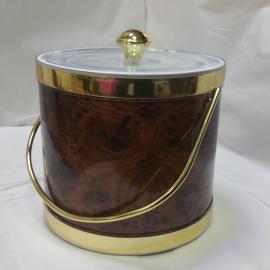 3-Quart American-styled Ice Bucket, Birds Eye (Dark Brown) with Gold trims