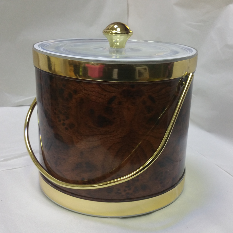 3-Quart American-styled Ice Bucket, Birds Eye (Dark Brown) with Gold trims
