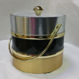 3-Quart American-styled three tone Ice Bucket, Silver, Black & Gold
