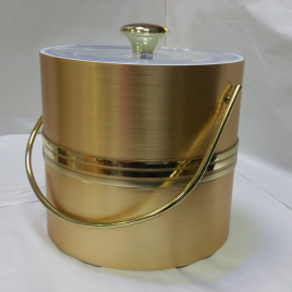 3-Quart American-styled Ice Bucket, Gold with three middle Gold stripes