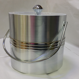 3-Quart American-styled Ice Bucket Silver with three middle Silver stripes