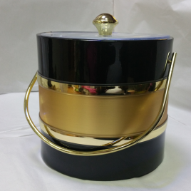 3-Quart American-styled two tone Ice Bucket, Black Gold Black