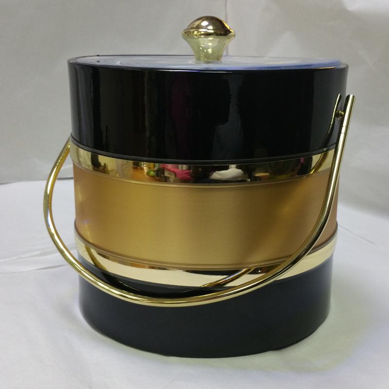 3-Quart American-styled two tone Ice Bucket, Black Gold Black