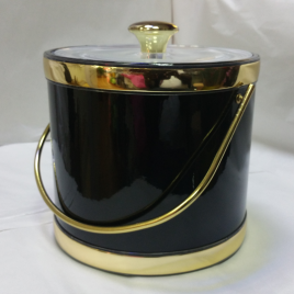 3-Quart American-styled Ice Bucket Black with Gold trims