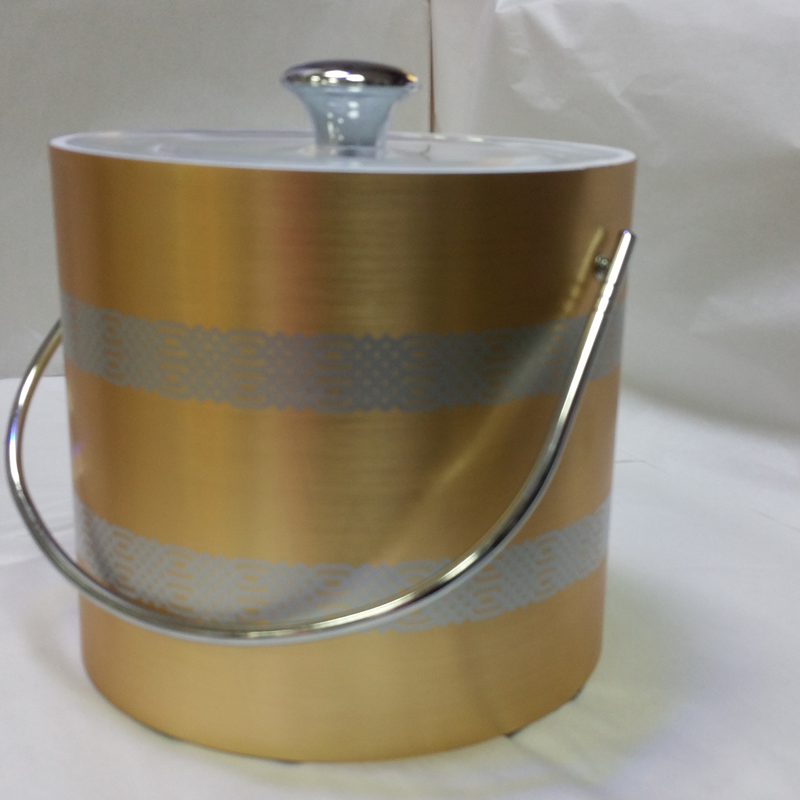 3-Quart American-styled Ice Bucket Gold with two Silver screen print bands