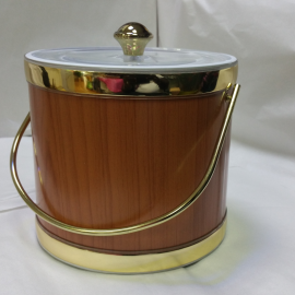 3-Quart American-styled Ice Bucket, Teak effect with Gold trims