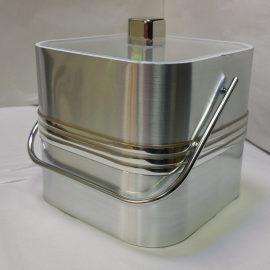 2-Quart American-styled square shaped Ice Bucket, Silver with three middle Silver stripes