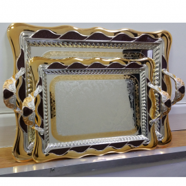 Stylish Silver and Gold Plated Palace Serving Tray with Burgundy trimming
