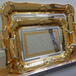 Stylish Silver and Gold Plated Serving Tray