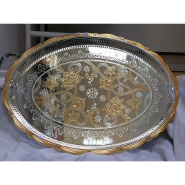 Stylish Oval-shaped Silver and Gold Plated Serving Tray with self- handles