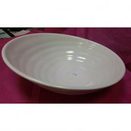 White Glazed Melamine Slanted Serving Platter Bowl