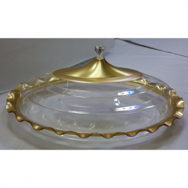 Oval-shaped durable Acrylic Gold Coating Wavy Edged Clear Serving Platter