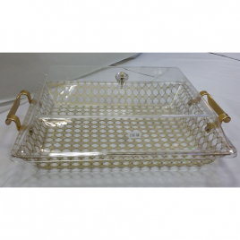 Rectangular-shaped durable Acrylic and Gold Printing Serving Platter with Gold handles