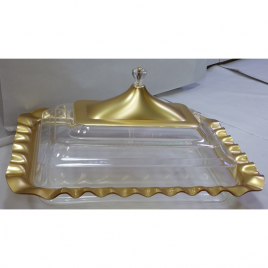 Rectangular-shaped durable Acrylic Gold Coating Wavy Edged Clear Serving Platter