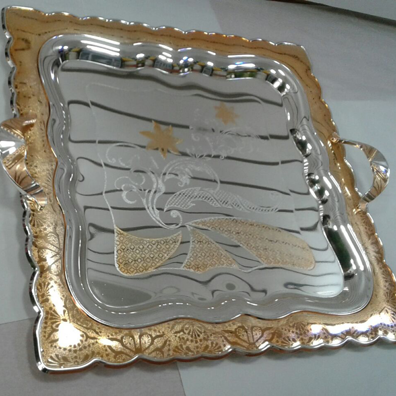 Stylish Square – shaped Silver and Gold Plated Serving Tray with handles