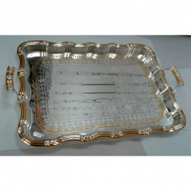 Stylish Rectangular- shaped Silver and Gold Plated Serving Tray with handles