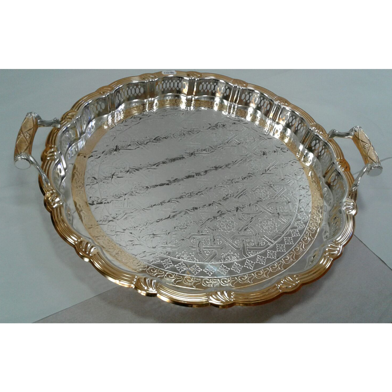 Stylish Round Shaped Silver And Gold Plated Serving Tray