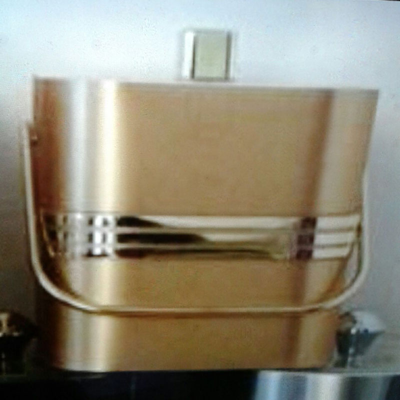 2-Quart American-styled square shaped Ice Bucket, Gold with three middle Gold stripes